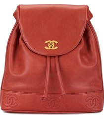 chanel pre-owned cc stitched logo backpack - red