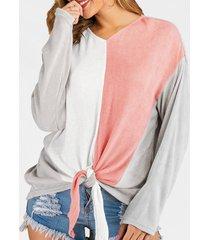 colorblock self-tie sweater