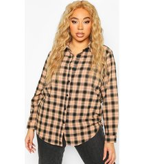 plus soft flannel oversized shirt, blush