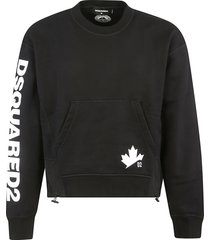 dsquared2 sleeve logo front pocket hoodie