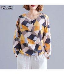 zanzea mujer manga larga cuello en v floral impreso tops casual camisas sueltas blusa -amarillo