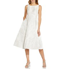 adrianna papell metallic floral jacquard midi dress, size 16 in ivory at nordstrom