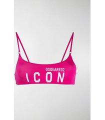 dsquared2 icon logo print bandeau bikini top