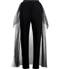 loulou tulle panelled slim-fit trousers - black