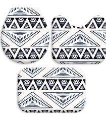 kit 3 tapetes decorativos para banheiro wevans abstrato off white - branco - dafiti