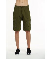 pantalones cortos gaupucean para hombre-ejército verde