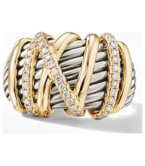david yurman helena statement ring with 18k gold and diamonds, size 8.5 in gold/silver/diamond at nordstrom