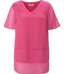 blouse splitje in de korte mouwen en v-hals van anna aura roze