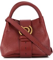 zanellato leather tote bag with gold hardware - red