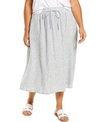 plus size women's caslon linen blend midi skirt, size 1x - blue