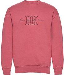 artwork crew sweat-shirt tröja rosa han kjøbenhavn