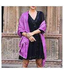 wool shawl, 'wisteria paisley' (india)