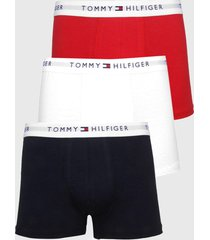 kit 3pçs cueca tommy hilfiger boxer lettering azul-marinho/vermelho - kanui