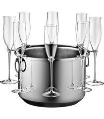 champanheira bottega inox com suporte para 8 taças - riva