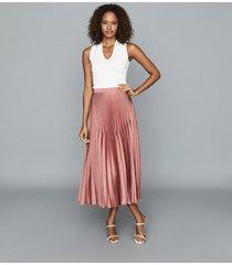 reiss dora - pleated midi skirt in blush, womens, size 14
