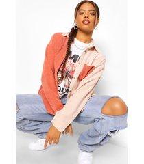 oversized corduroy colour block blouse, dusky pink