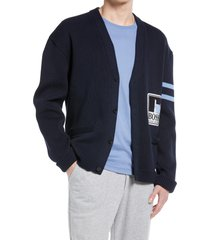 boss x russel athletic krusselra cotton cardigan, size one size - blue