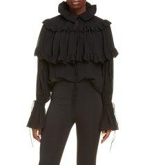 women's saint laurent washed silk georgette blouse, size 8 us / 40 fr - black