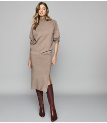 reiss anna - knitted skirt in brown, womens, size xxl