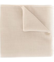 agnona fine knit cashmere scarf - brown