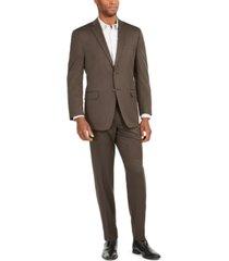 marc new york by andrew marc men's brown birdseye modern-fit suit