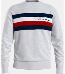 tommy hilfiger men's organic cotton stripe panel sweatshirt medium grey heather - xs