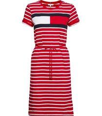 abo regular t-shirt dress dresses everyday dresses röd tommy hilfiger