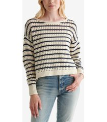 lucky brand cotton pointelle-knit striped sweater
