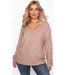 plus trui met met v-uitsnijding aan de voor- en achterkant, blush
