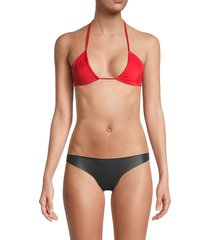 mikoh swimwear women's venezeula triangle bikini top - red ginger - size l
