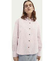 scotch & soda boxy fit blouse van katoen en linnen
