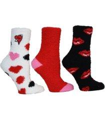 betsey johnson ladies cozy socks, pack of 3