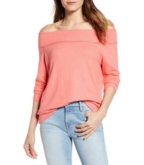 women's gibson x living in yellow mary fleece off the shoulder top, size xx-large - coral (regular & petite) (nordstrom exclusive)