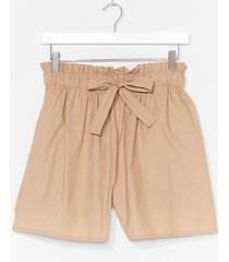 womens tie back later paperbag shorts - camel