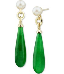 cultured freshwater pearl (7mm) & jade briolette drop earrings in 14k gold-plated sterling silver