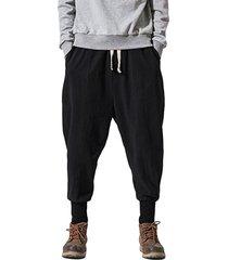 hombres verano lino algodón casual estilo chino pantalones sueltos cónicos