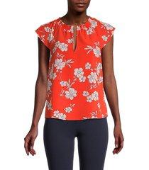 sanctuary women's floral top - red - size s