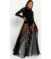 akira cece barbados mesh embellished maxi skirt