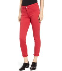 women's prosperity denim cuffed skinny jeans, size 33 - red