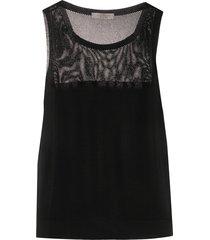 d.exterior mesh panelled vest top - black