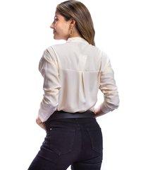 camisa nude para mujer corte clásico cuello v