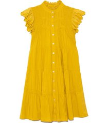 adrienne cotton short sleeve tiered tunic in citron