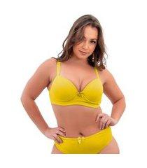 1 sutiã plus size reforçado cor lisa soutien bojão lingerie amarelo