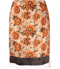 kwaidan editions floral-print straight-leg skirt