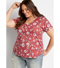 maurices plus size womens 24/7 red floral drop shoulder classic tee