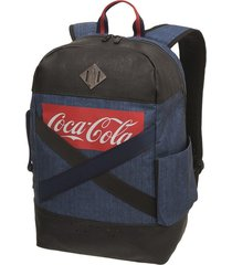 mochila coca cola accessories denim pro jeans azul