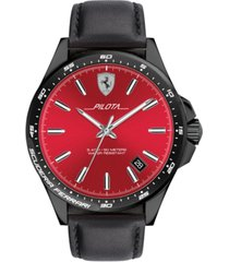 ferrari men's pilota black silicone strap watch 42mm
