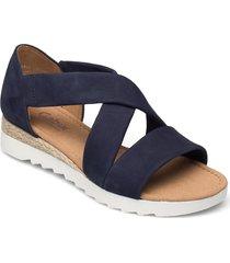ankle-stap sandal sandalette med klack espadrilles blå gabor
