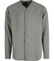 giorgio armani collarless button-up shirt