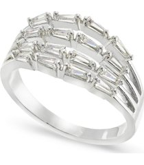 charter club silver-plate baguette-crystal multi-row ring, created for macy's
